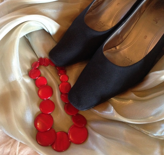 New Gabor shoes, necklace and shawl found at op shops