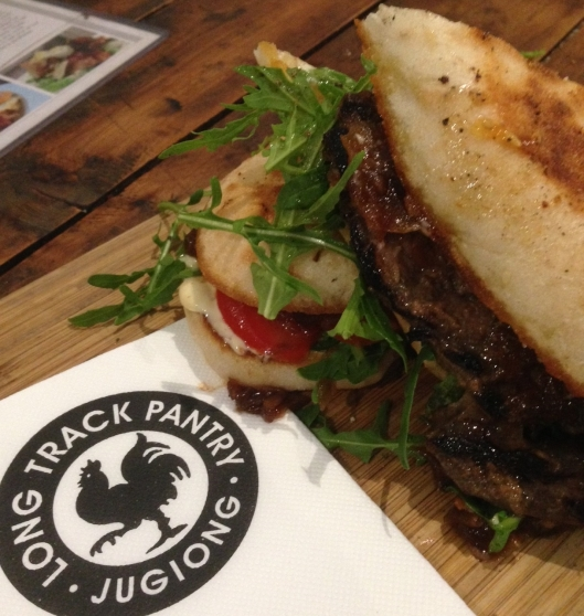 steak sandwich at the Long Track Pantry