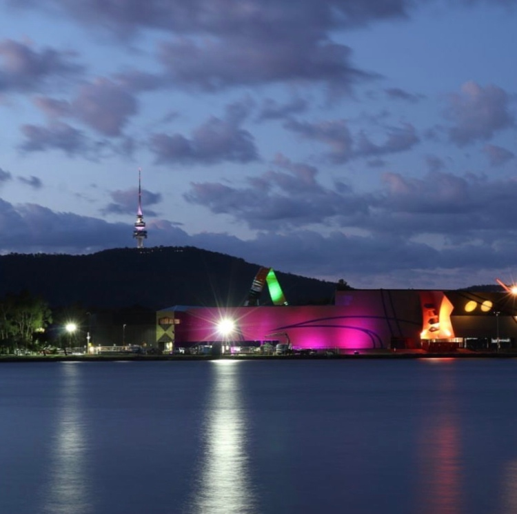Night view of the National Musuem of Australia