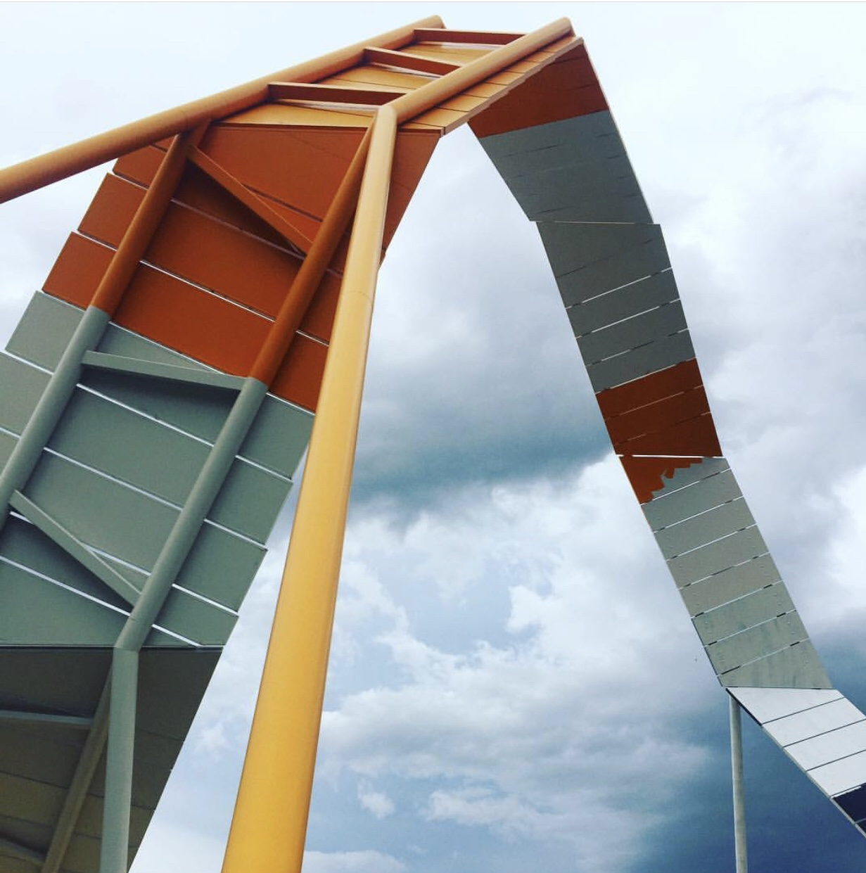 The curved arm at the entrance to the National Museum of Australia