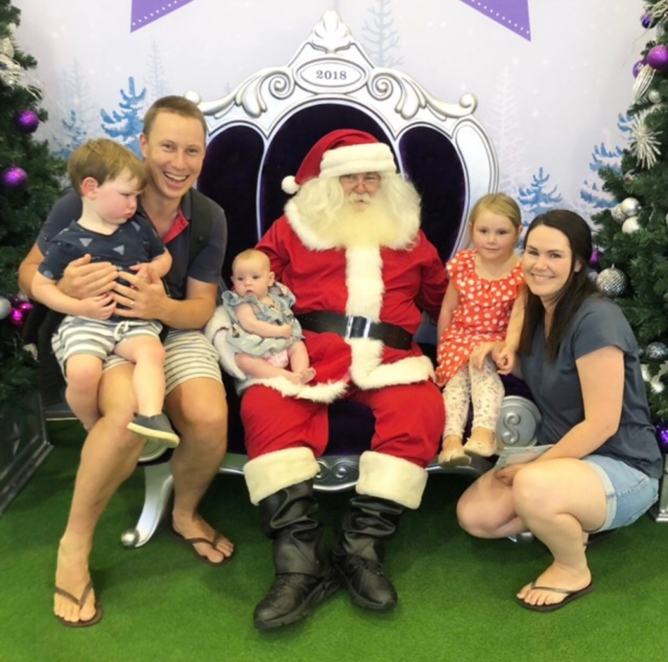 Family Christmas photo with Santa