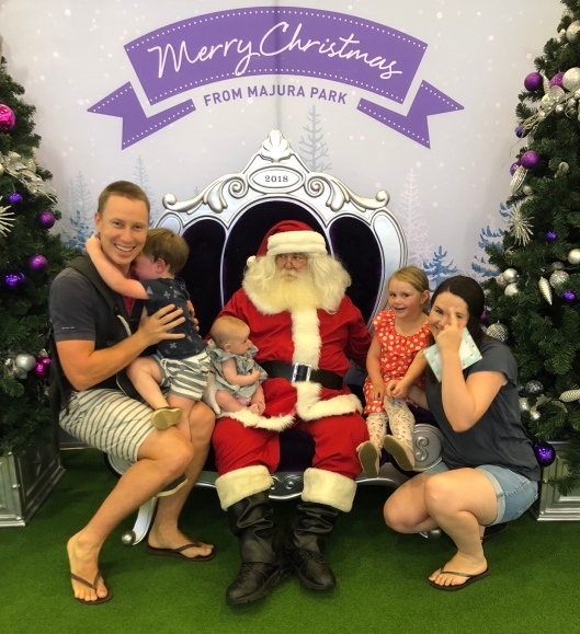 Scared boy at Santa photo
